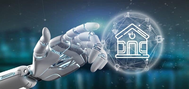 Cyborg trzyma Mądrze domowego interfejs z ikony, stats i dane 3d renderingiem, ilustracji