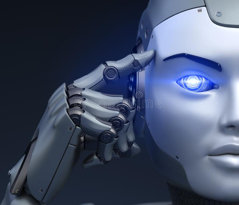 Cyborg trzyma palec blisko głowy ilustracji