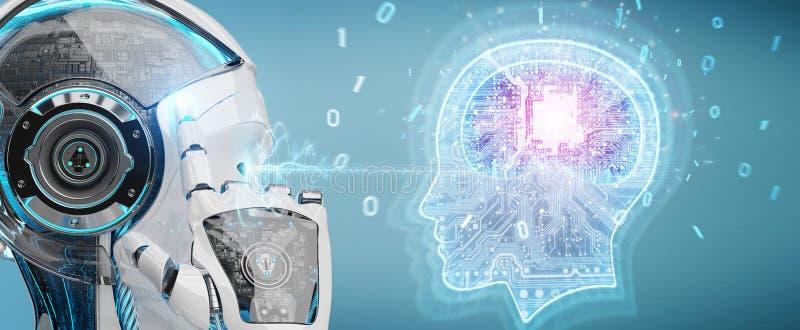 Cyborg tworzy sztucznej inteligenci 3D rendering ilustracja wektor