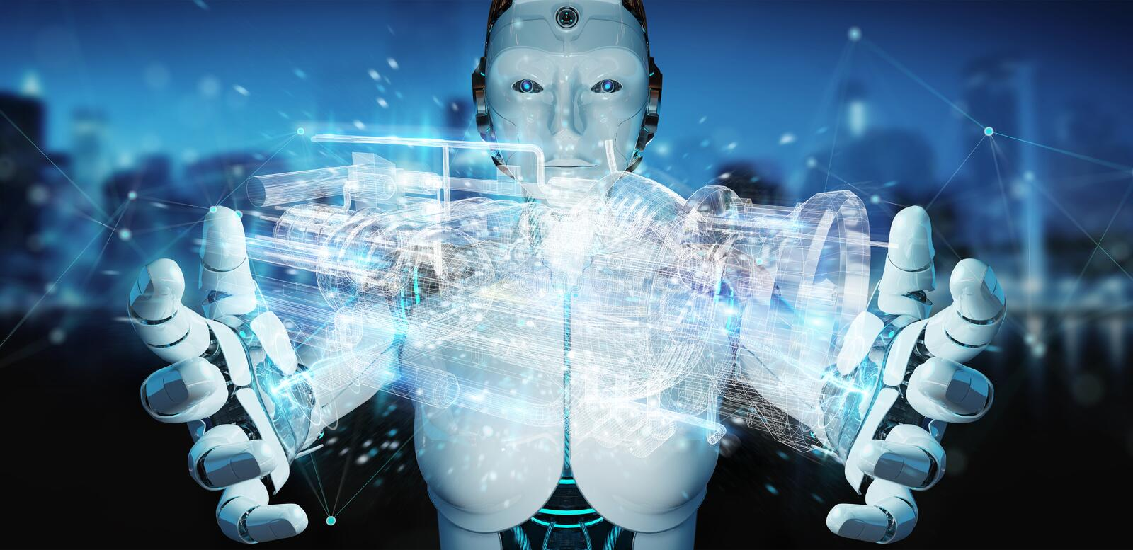 Cyborg using wireframe holographic 3D digital projection of an e stock illustration