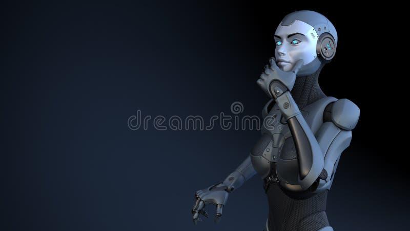 Cyborg w postawie karnym ilustracja wektor