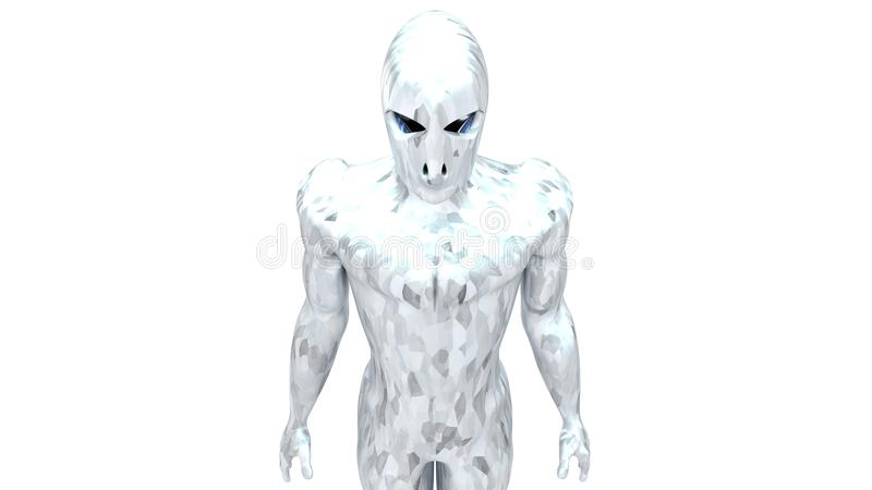 Cyborg w srebrze z węgla światłem 33 fotografia stock