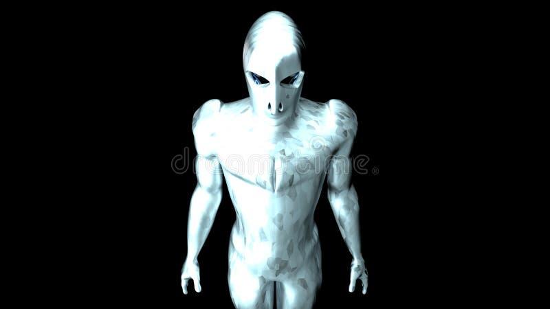 Cyborg w srebrze z węgla światłem 34 fotografia stock
