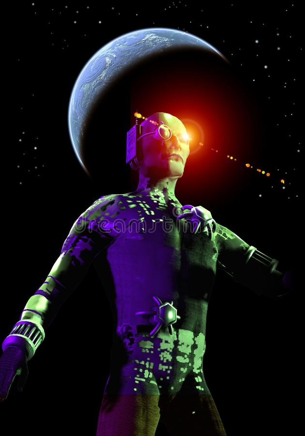 Cyborg warrior, light effects, dark sky with stars and planet, 3d illustration royalty free illustration