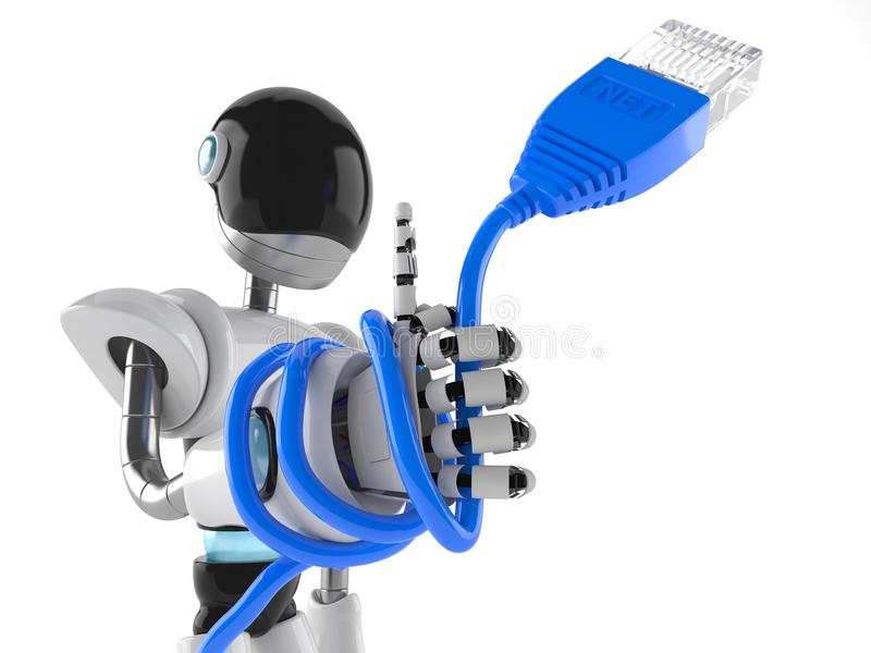 Cyborg z sieć kablem ilustracja wektor