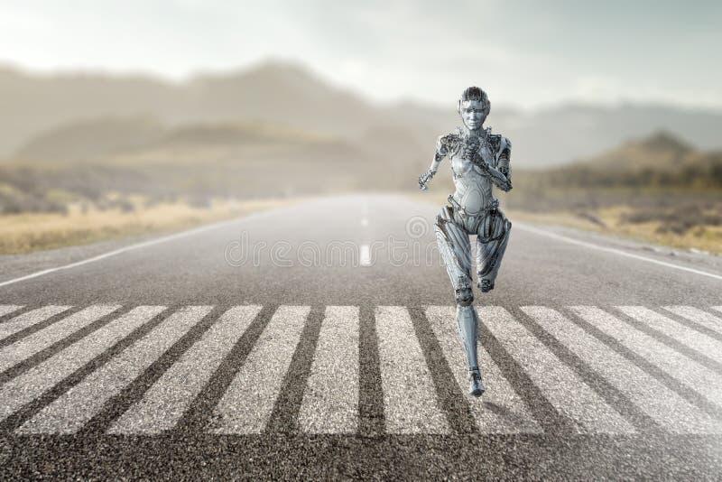 Cyborg zilveren lopende vrouw Gemengde media stock afbeeldingen