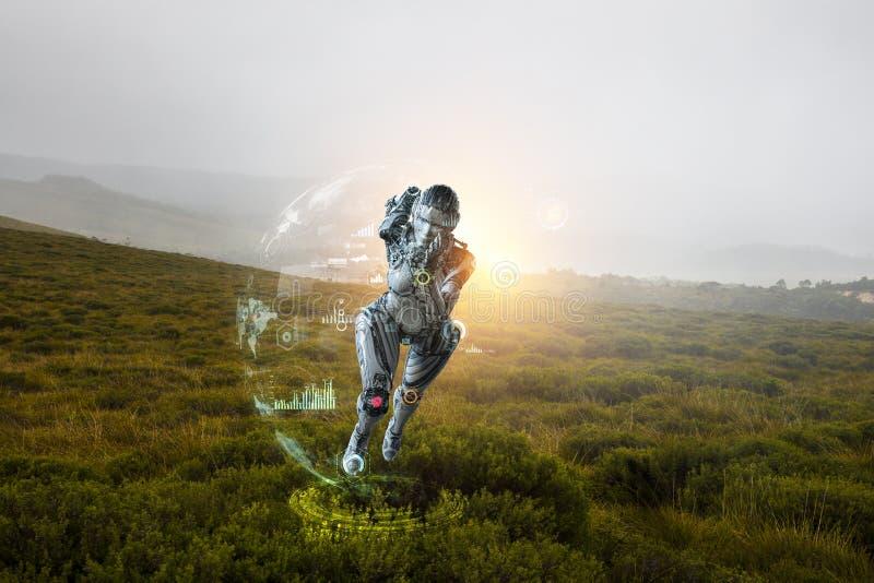 Cyborg zilveren lopende vrouw Gemengde media stock foto's