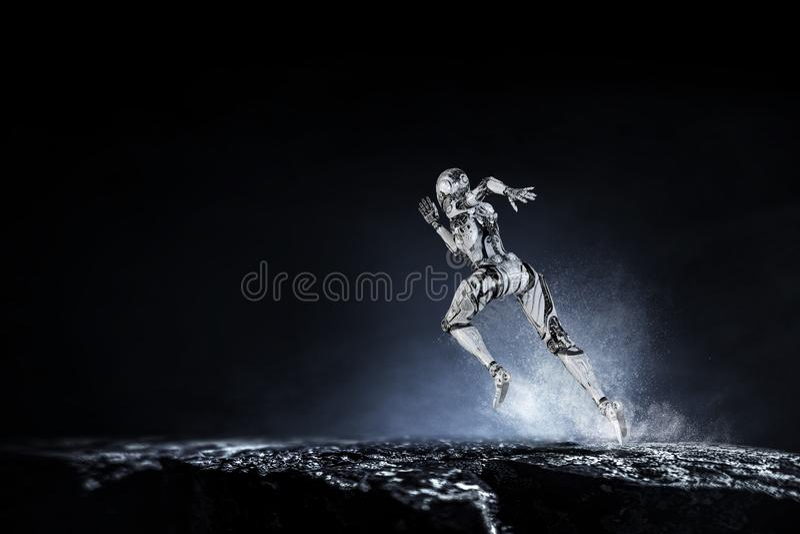 Cyborg zilveren lopende vrouw Gemengde media royalty-vrije illustratie