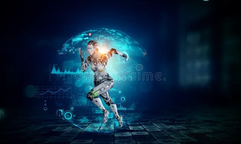Cyborg zilveren lopende vrouw Gemengde media stock illustratie