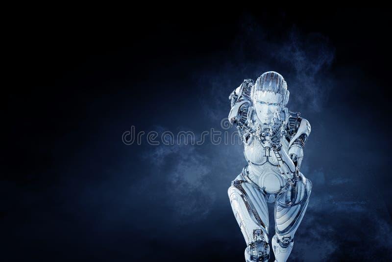 Cyborg zilveren lopende vrouw Gemengde media vector illustratie