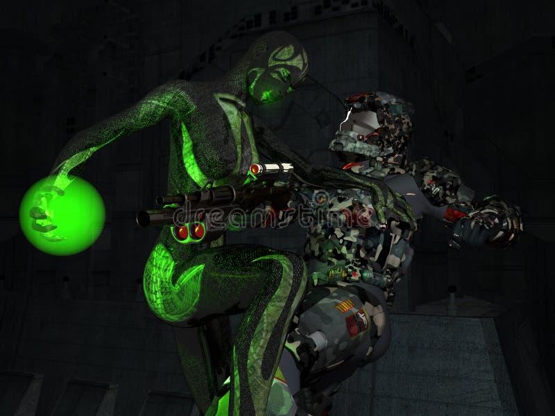 cyborga żołnierz ilustracja wektor