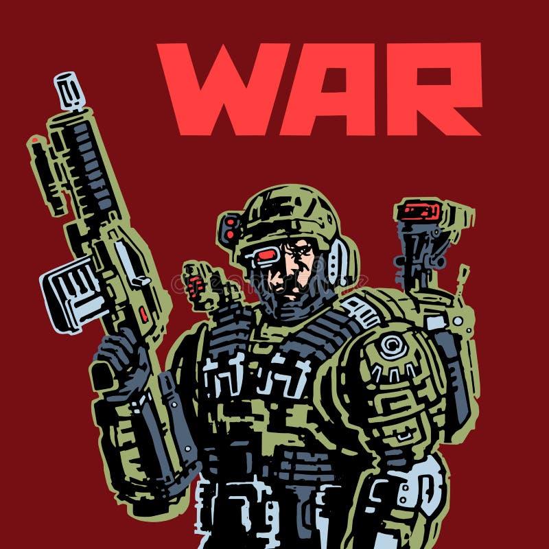 Cyborga żołnierz przyszłość ilustracji