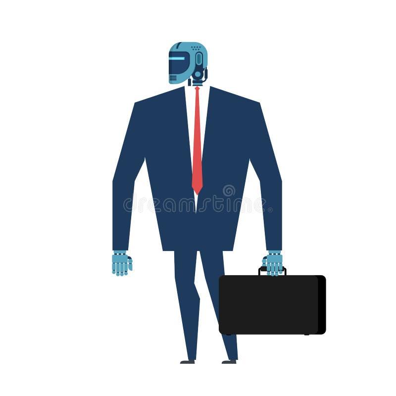 Cyborga biznesmen Biurowego robota Sztuczna inteligencja wektor royalty ilustracja