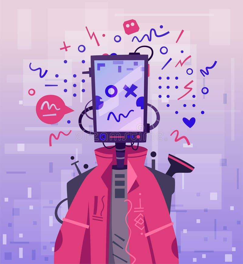 Cyborga charakteru projekt Robot z zwierzęciem domowym obcy kresk?wki kota ucieczek ilustraci dachu wektor royalty ilustracja