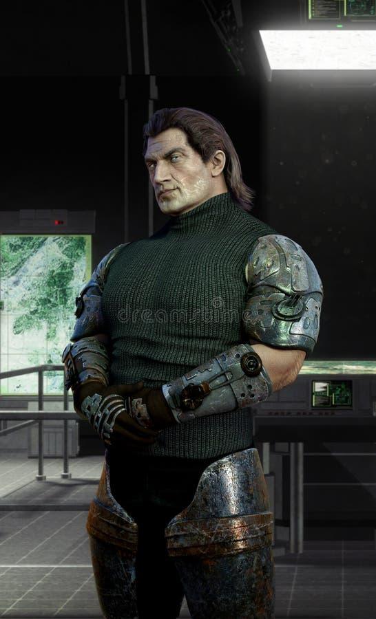 Cyborga ochroniarz w odprawa pokoju royalty ilustracja