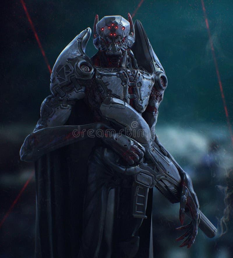 Cyborga wampira stojaki w nocy ilustracja 3 d ilustracja wektor