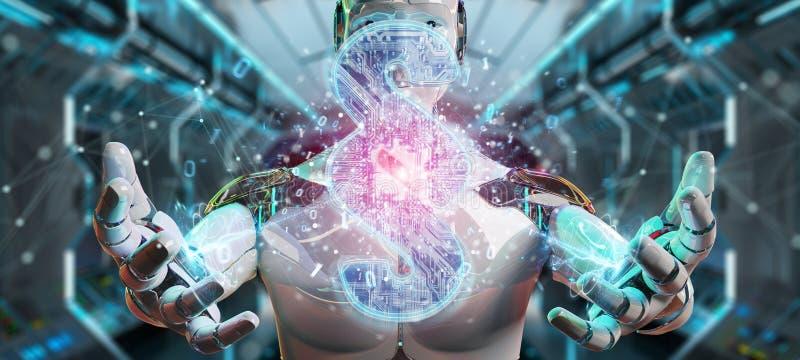 Cyborgdomare som anv?nder 3D som framf?r digitalt avsnittlagsymbol stock illustrationer