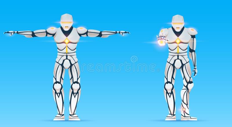 Cyborgen är en man med konstgjord intelligens, AI Det Humanoid robotteckenet visar gester Stilfull androidman vektor illustrationer