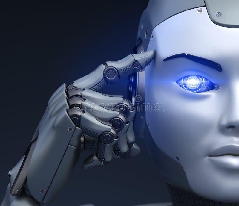 Cyborgen rymmer ett finger nära huvudet stock illustrationer