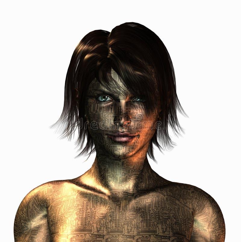 Cyborgflicka vektor illustrationer