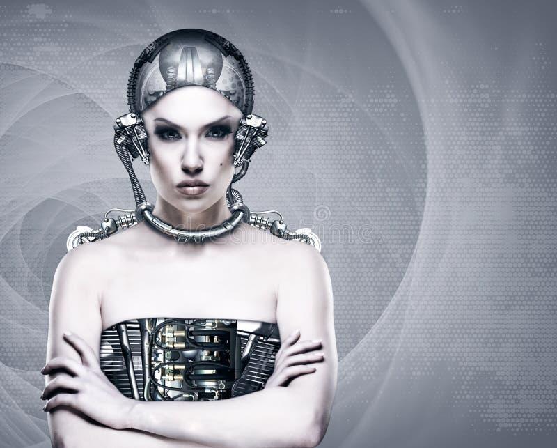 Cyborgfrau lizenzfreie stockfotos