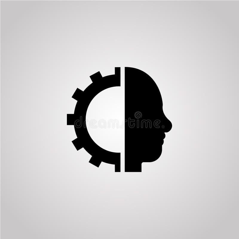 Cyborggang Cyborghauptbilddagramm auf dem grauen Hintergrund stock abbildung