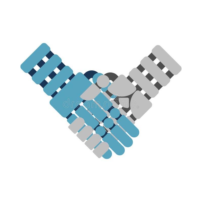 Cyborghändedruck lokalisiert Robotereiserne hände Künstliches Intellig vektor abbildung