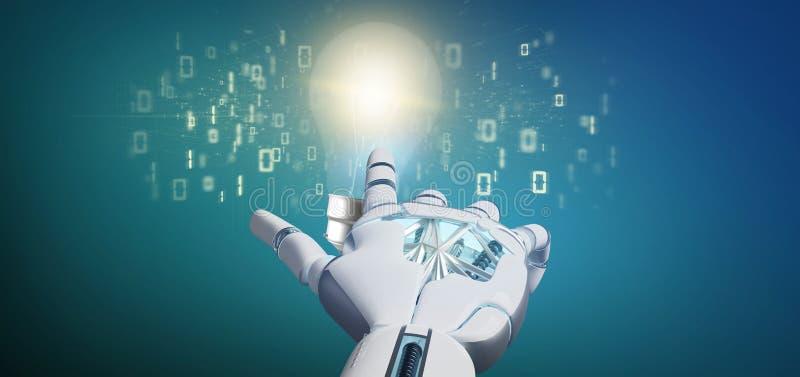 Cyborghand, die ein Birnenlampen-Ideenkonzept mit Daten alles aroun hält vektor abbildung