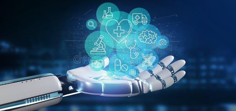 Cyborghand, die eine medizinische Ikonen- und Verbindungs3d Wiedergabe hält lizenzfreie abbildung