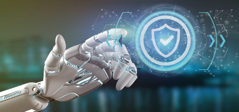 Cyborghand, die eine Technologiesicherheitsikone auf einem Kreis 3d bezüglich hält stock abbildung