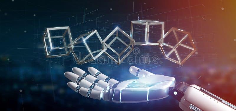 Cyborghand, die eine Wiedergabe blockchain Würfels 3d hält stock abbildung