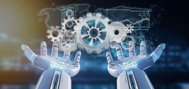 Cyborghand, die eine Wiedergabe der Gangradschnittstelle 3d hält stock abbildung
