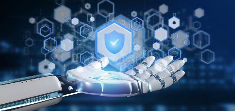 Cyborghand, die eine Wiedergabe des Schildnetzsicherheitskonzeptes 3d hält vektor abbildung