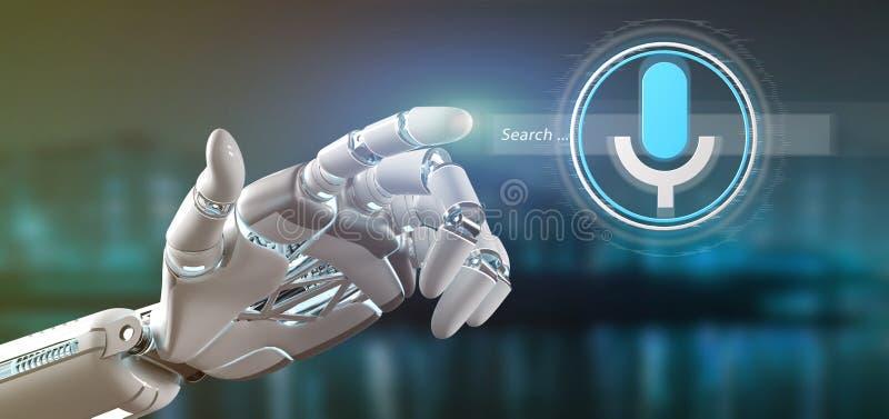 Cyborghand, die einen ocal Suchvorgang mit Knopf und Ikone 3d hält stock abbildung