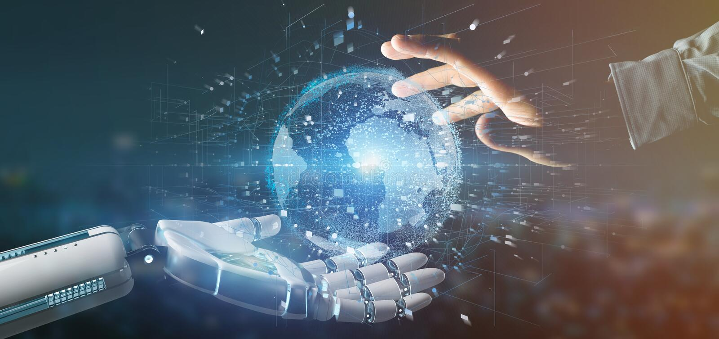 Cyborghand som rymmer en anslutning runt om en renderi för världsjordklot 3d stock illustrationer