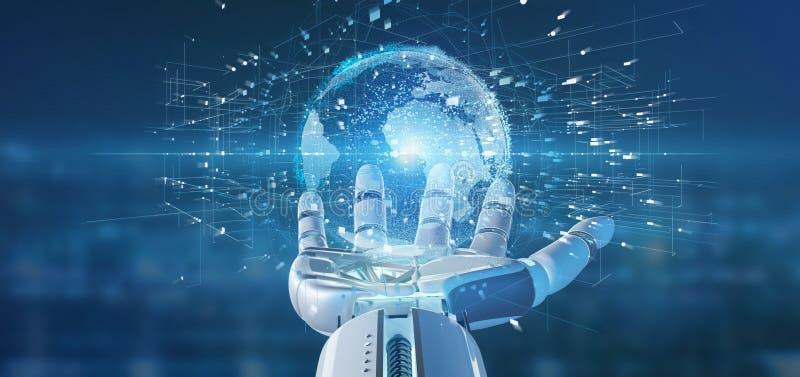 Cyborghand som rymmer en anslutning runt om en tolkning för världsjordklot 3d royaltyfri illustrationer