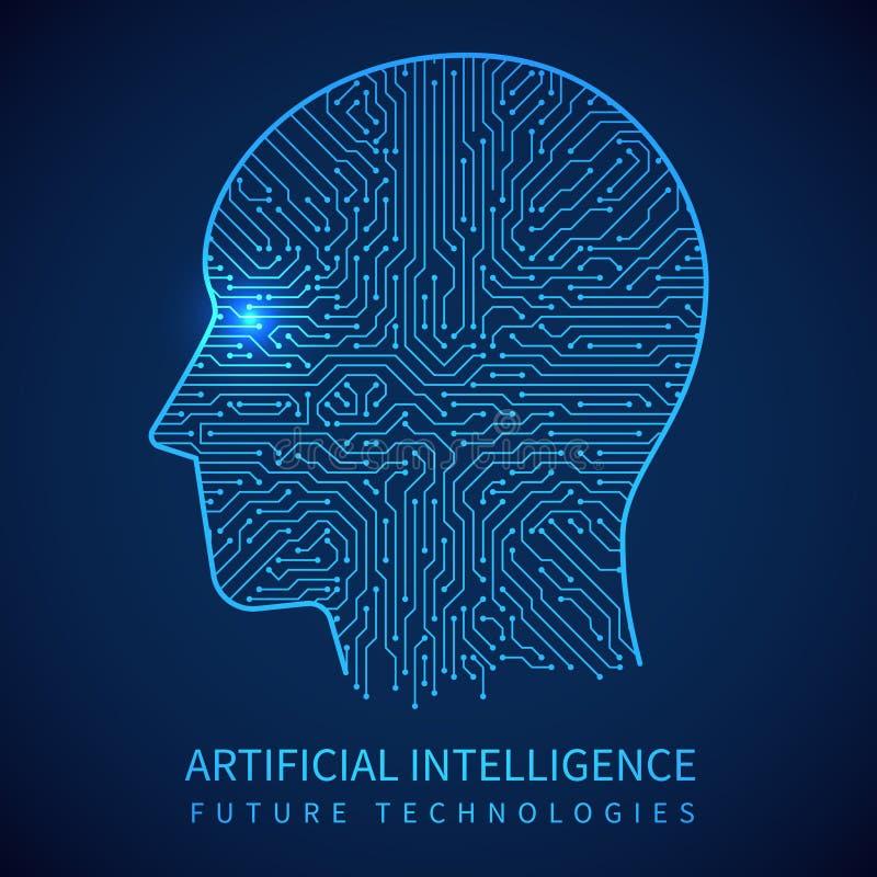 Cyborghoofd met krings binnen raad Kunstmatige intelligentie van digitaal menselijk vectorconcept royalty-vrije illustratie