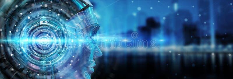 Cyborghuvud som använder konstgjord intelligens att skapa digital inte vektor illustrationer