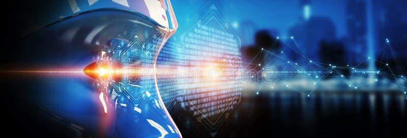 Cyborghuvud som använder konstgjord intelligens att skapa digital inte stock illustrationer