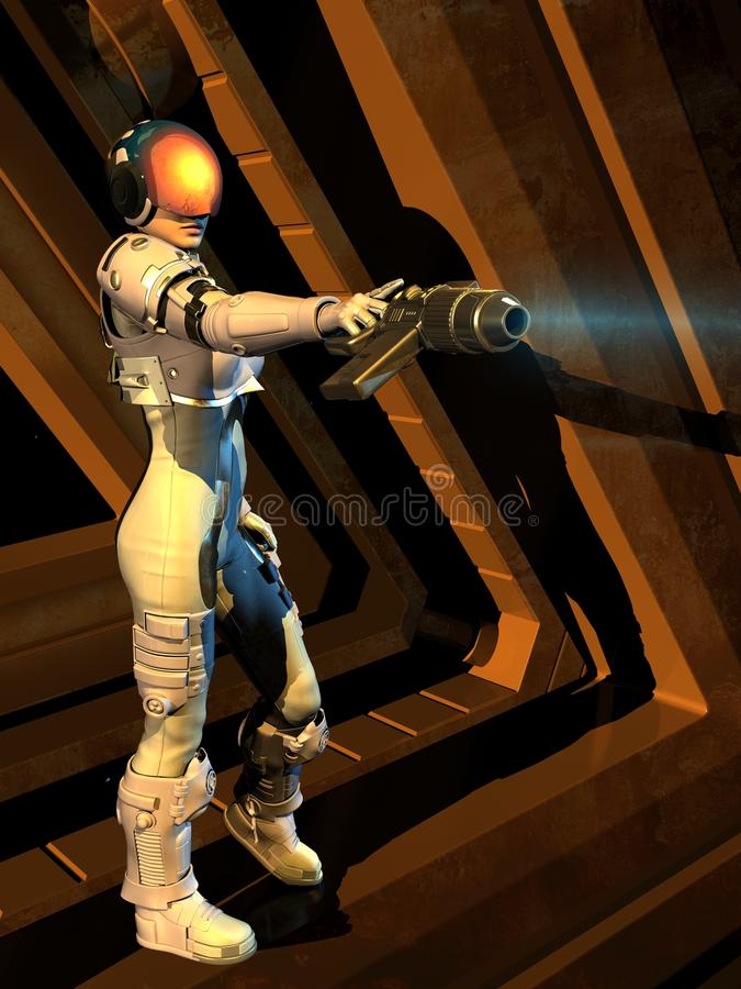 Cyborgmeisje royalty-vrije illustratie