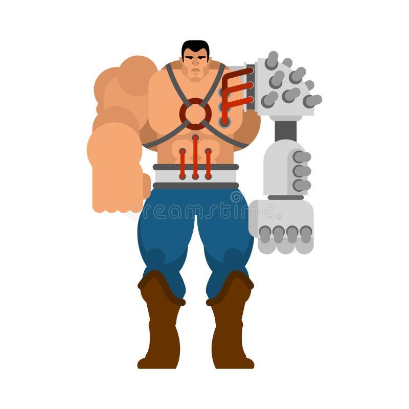 Cyborgmens met robot van ijzer de cybernetische handen Humanoidmechanisme mechanisch technologie robotachtig skelet Ijzerkostuum royalty-vrije illustratie