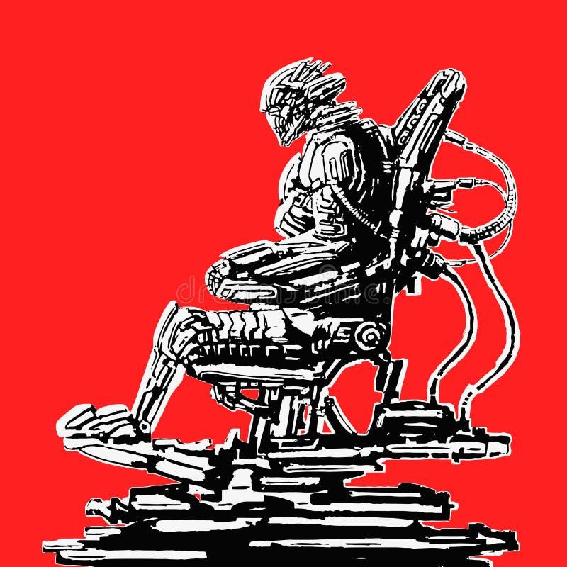 Cyborgpilot sitzt in der Klage auf seinem Eisenthron Auch im corel abgehobenen Betrag vektor abbildung