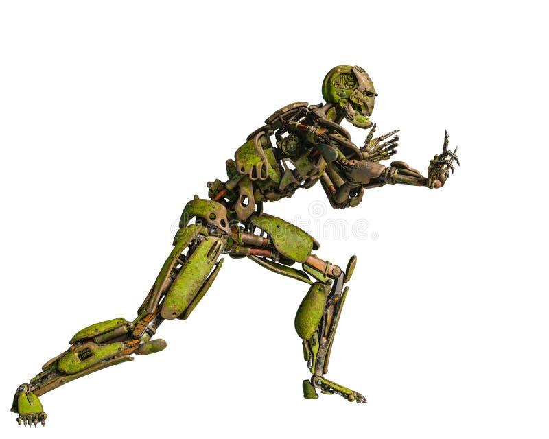 Cyborgroboter in einem Auftrag lizenzfreie abbildung