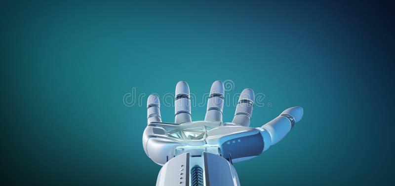 Cyborgrobothand på en enhetlig tolkning för bakgrund 3d royaltyfri illustrationer