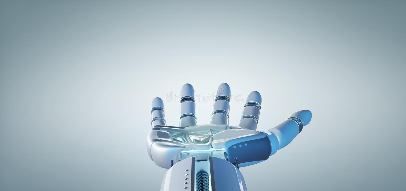 Cyborgrobothand på en enhetlig tolkning för bakgrund 3d vektor illustrationer