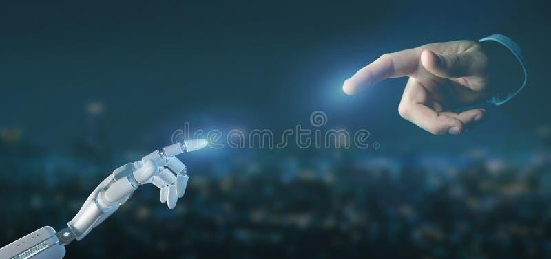 Cyborgrobothand på en tolkning för stadsbakgrund 3d royaltyfri illustrationer
