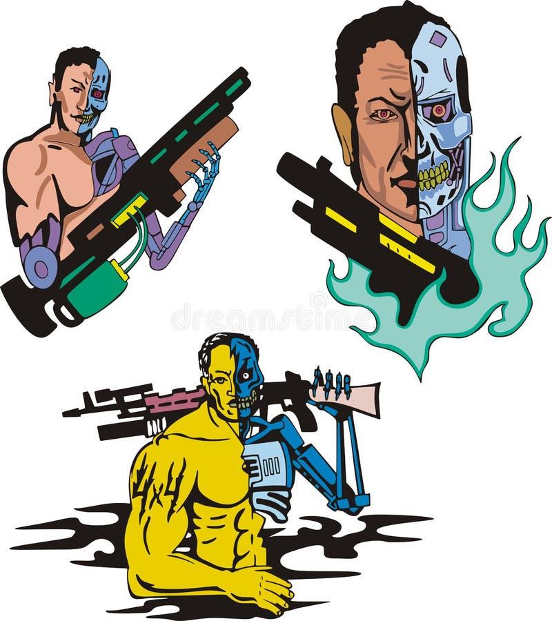 Cyborgs vektor illustrationer