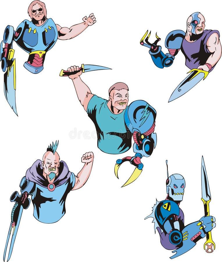 Cyborgs coloridos ilustración del vector