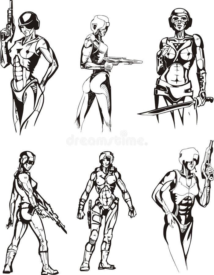Cyborgs de Amazon ilustração stock