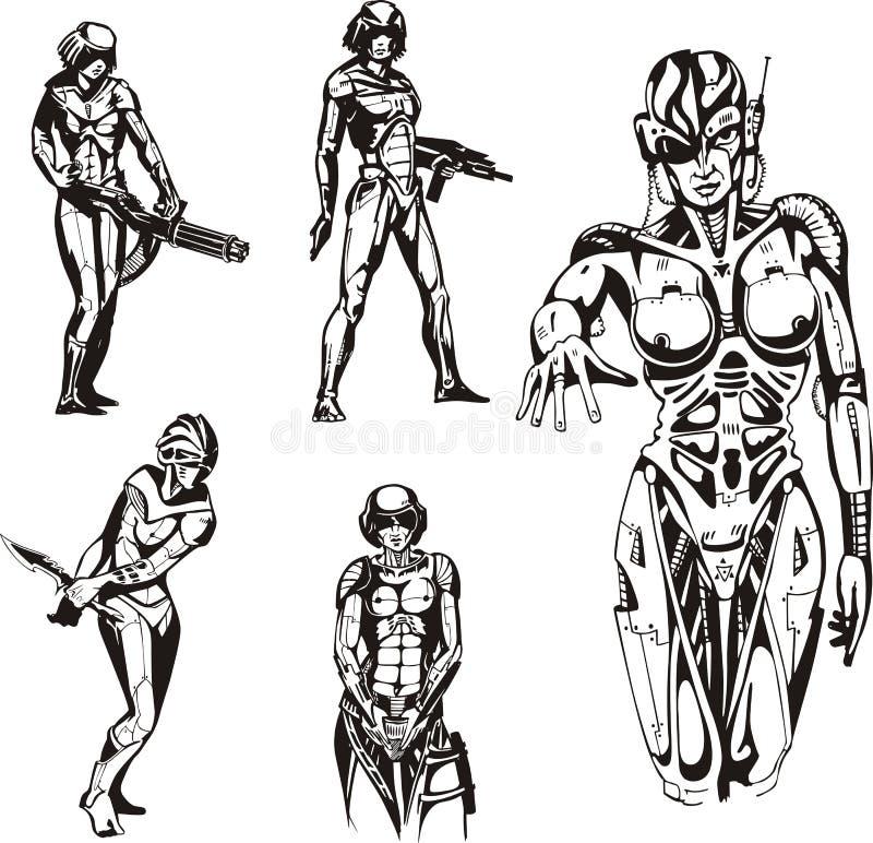 Cyborgs de Amazon ilustração do vetor